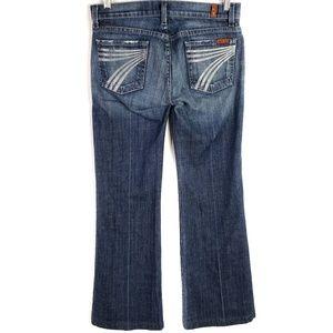 7FAM Dojo Sprayed Silver 7 Flare Jeans SZ 25